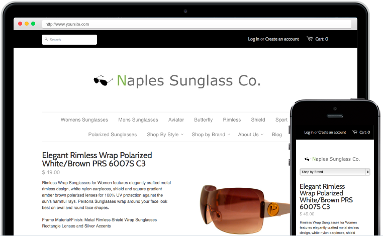 Cloud Based E-Commerce Platforms Easy Do-It-Yourself Online Store - Shopify NaplesSunglasses.com